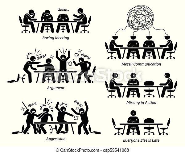 inefficace, discussion., avoir, inefficace, réunion, cadres - csp53541088