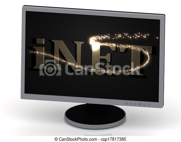 iNET Inscription on monitor from metal letters - csp17817385