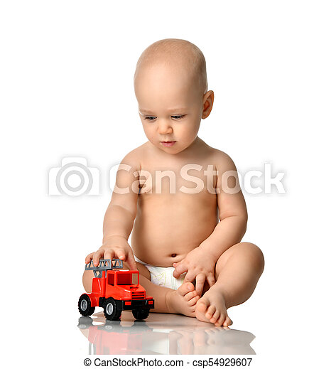 Infant Child Baby Boy Toddler Sitting In Diaper Playing With Red Car