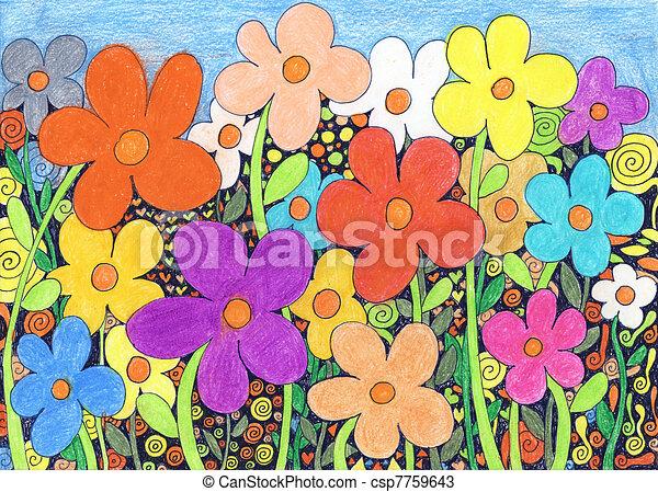 Infantil Flores Decorativo Coloridos Simbolos Fundo Flores
