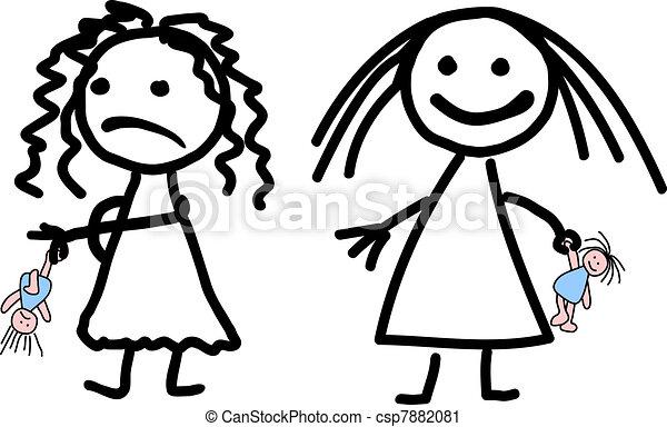 Clip art vectorial de infantil nias dibujo dos  Childish
