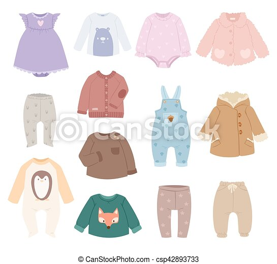 Infants Baby Child Clothes Vector Infants Baby Accessories Child