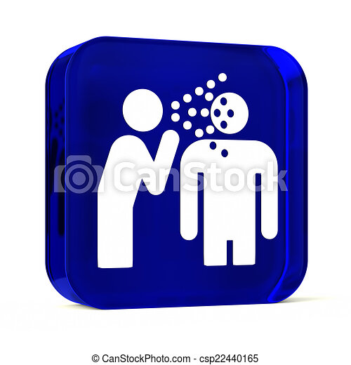 Infectious Disease Glass Button Icon With White Health Care Sign Or