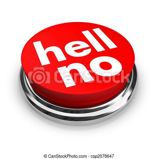 inferno, botão, -, vermelho, não - csp2078647