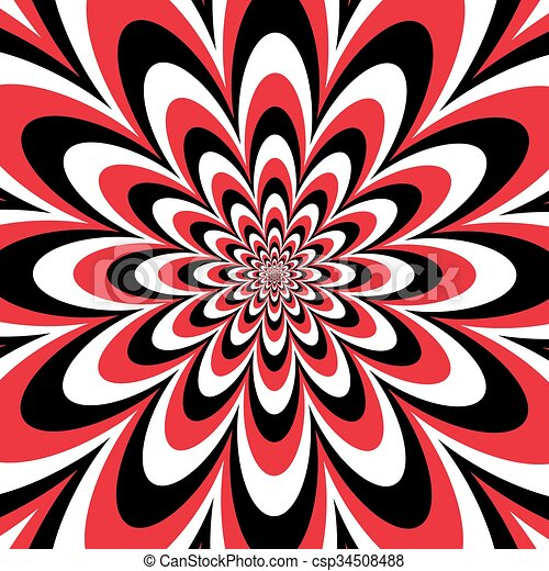 Infinite Flower In Red Black White Infinite Flower Optical Illusion Design In Red Black And White Colors Are Grouped For,Easy Black And White Simple Flower Design