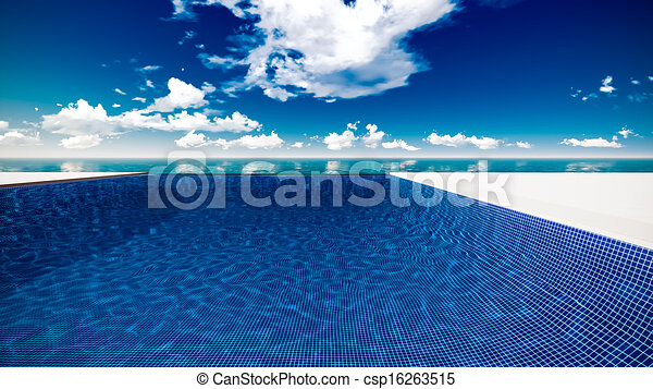 Infinite swimming pool with ocean in background. Infinite swimming ...