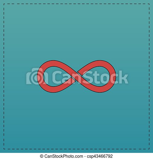 Infinity Computer Symbol Infinity Red Vector Icon With Black