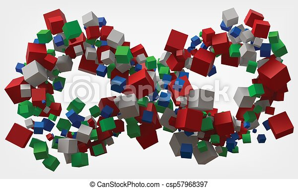 infinity symbol with cubes. 3d style vector illustration. - csp57968397
