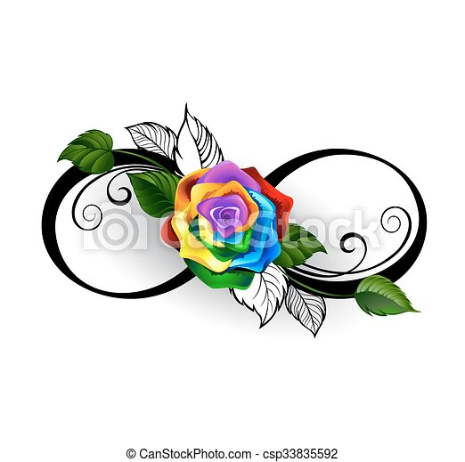 Infinity Symbol With Rainbow Rose Infinity Symbol With Rainbow Rose