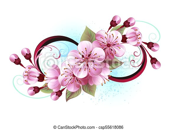 Line Drawing Of Flowers Clipart : Infinity with sakura blossom. symbol of vector