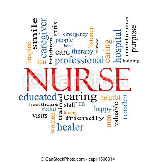 infirmière, concept, mot, nuage - csp11506014
