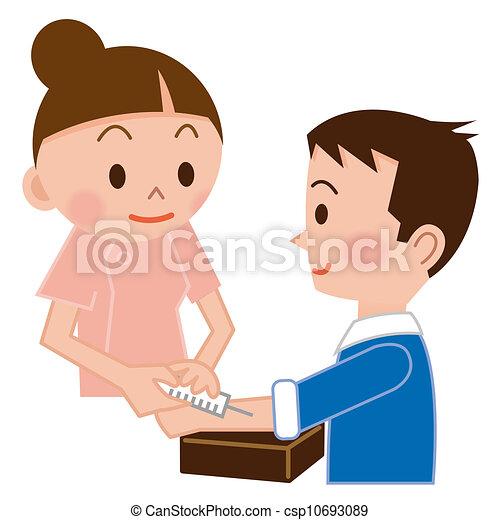 infirmière, injecter, patient - csp10693089