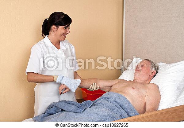 infirmière, lave, patient - csp10927265