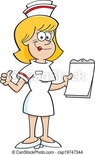 infirmière, presse-papiers, dessin animé - csp19747344