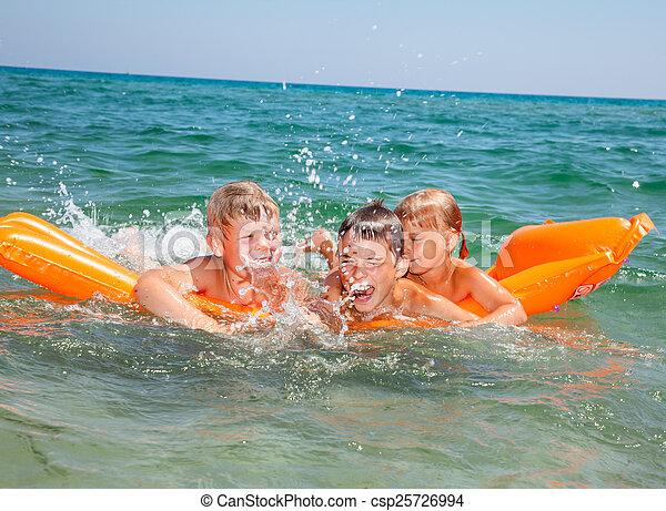 inflável, jogar crianças, colchão - csp25726994