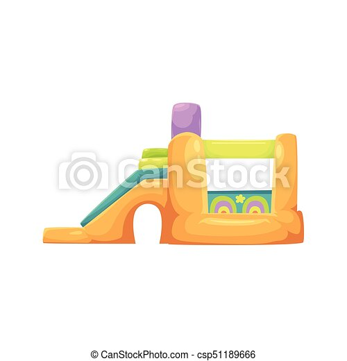Inflatable bouncy castle in amusement park - csp51189666