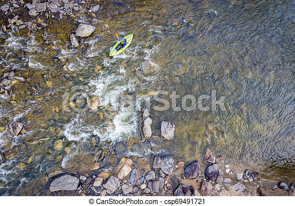 inflatable whitewater kayak aerial view - csp69491721