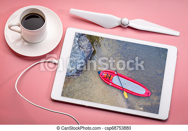 inflatable whitewater stand up paddleboard from above - csp68753880