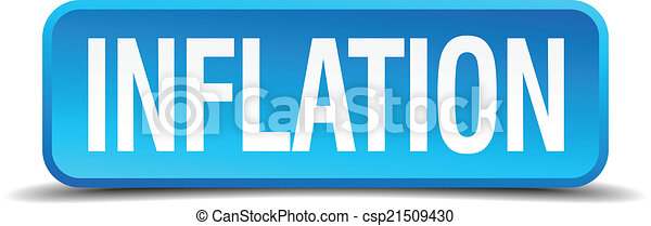 Inflation blue 3d realistic square isolated button - csp21509430