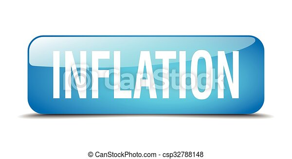 inflation blue square 3d realistic isolated web button - csp32788148