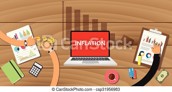 inflation concept with down graph - csp31956983