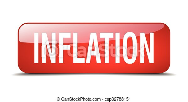 inflation red square 3d realistic isolated web button - csp32788151