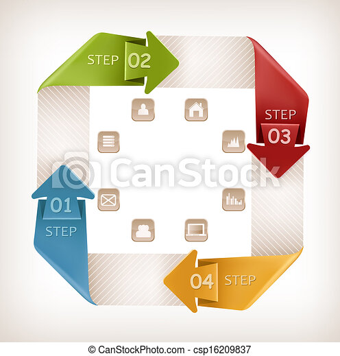 Info graphics banner with icons. Retro design template. Vector illustration - csp16209837