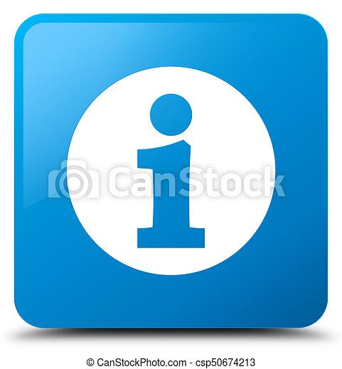 Info icon cyan blue square button - csp50674213