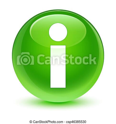 Info icon glassy green round button - csp46385530