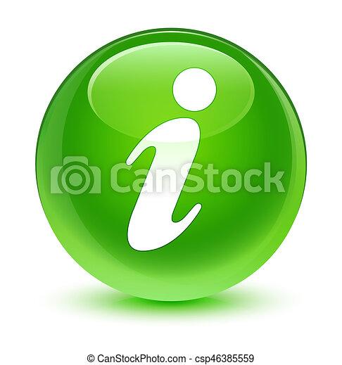 Info icon glassy green round button - csp46385559
