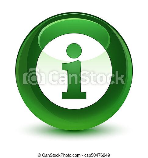 Info icon glassy soft green round button - csp50476249