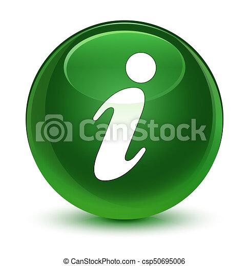 Info icon glassy soft green round button - csp50695006