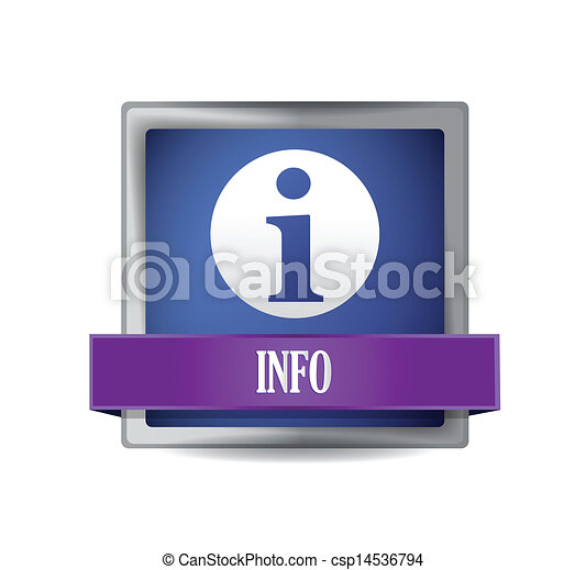 info icon glossy blue reflected square button - csp14536794