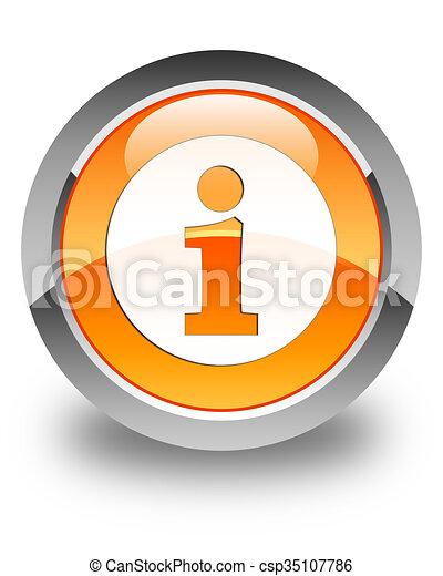Info icon glossy orange round button 3 - csp35107786