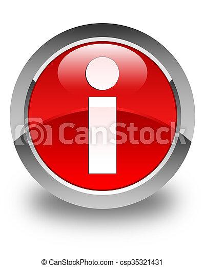Info icon glossy red round button - csp35321431
