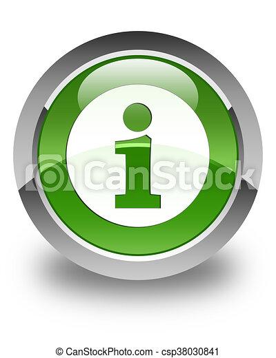 Info icon glossy soft green round button - csp38030841
