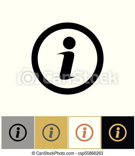 Info icon, information round symbol on gold and white background - csp55866263