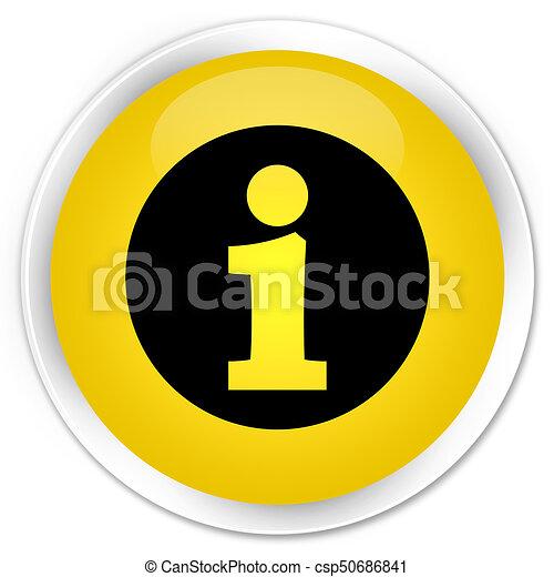 Info icon premium yellow round button - csp50686841