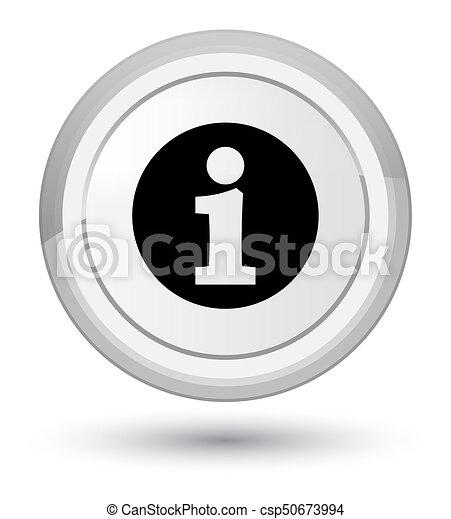 Info icon prime white round button - csp50673994