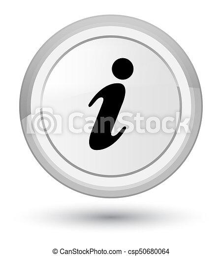 Info icon prime white round button - csp50680064