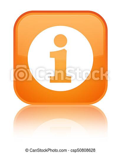 Info icon special orange square button - csp50808628