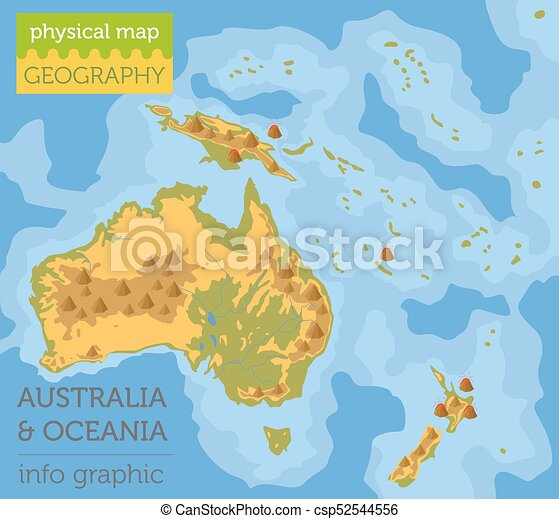 info, kaart, grafisch, oceanië, elements., verzameling, australië, bouwen, eigen, lichamelijk, jouw, aardrijkskunde - csp52544556