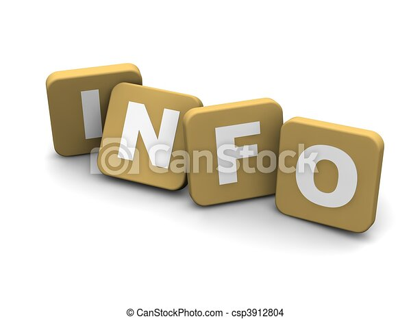 Info text. 3d rendered illustration isolated on white. - csp3912804