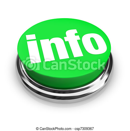 Info Word on Green Round Button - Get More Details - csp7309367