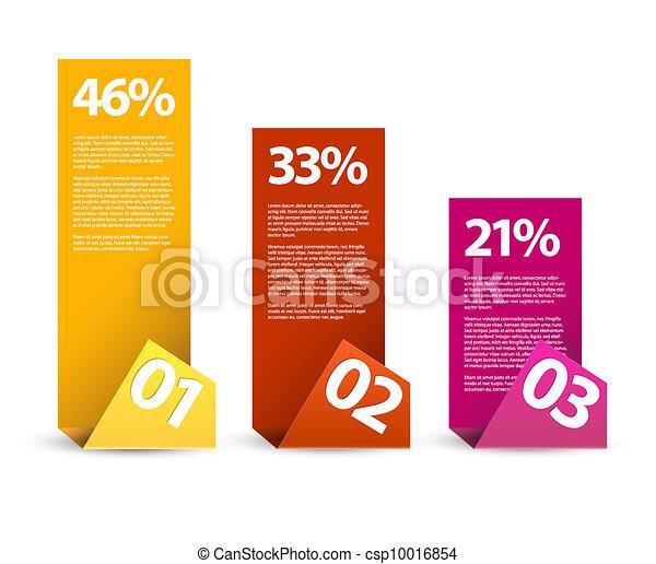 infographic, éléments, troisième, -, papier, seconde, vecteur, premier - csp10016854