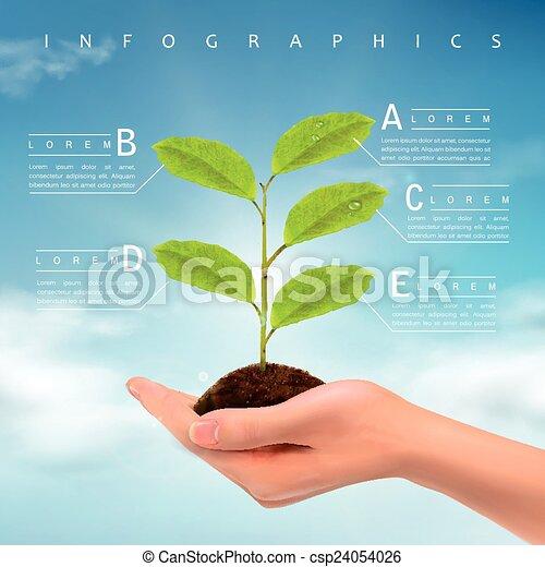 infographic, デザイン, 概念, エコロジー, テンプレート - csp24054026