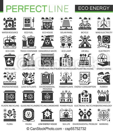infographic, ミニ, 概念アイコン, eco, エネルギー, ベクトル, シンボル, セット, 黒, 緑 - csp55752732