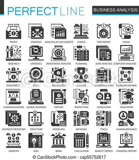 infographic, ミニ, 概念, ビジネス アイコン, クラシック, ベクトル, シンボル, analytics, セット, 黒 - csp55752617