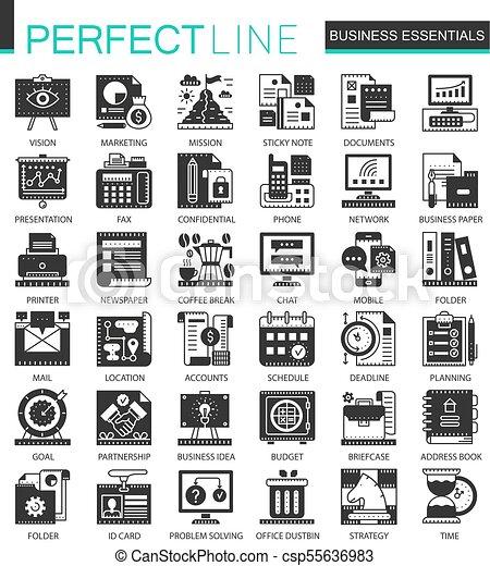 infographic, ミニ, 概念, ビジネス アイコン, クラシック, ベクトル, シンボル, セット, 黒, 必要 - csp55636983