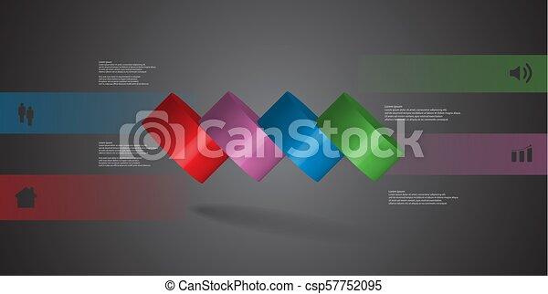 infographic, 水平に, シリンダー, こぼされる, イラスト, 4, 部分, テンプレート, 薄く切られる, 3d - csp57752095
